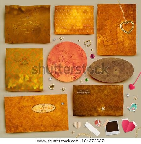 Scrapbooking set. Old paper textures: different aged paper elements for your layouts, golden hearts, stars, toggle and beads. Seamless floral ornaments collection. - stock vector