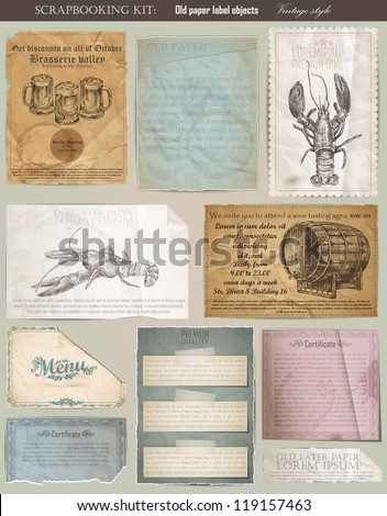 Scrapbooking set. old paper textures: different aged paper objects and elements for your layouts - stock vector