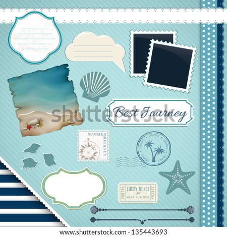 Scrapbooking Set: Summer journey - frames, ribbons, dividers, notes and decorations - stock vector