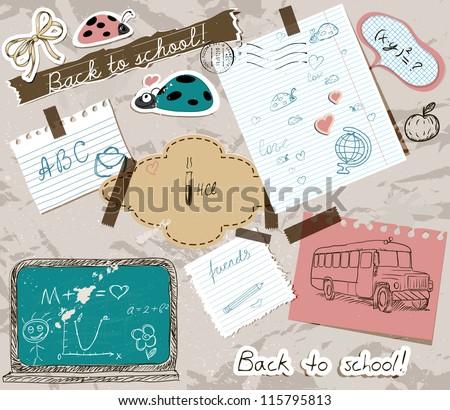 scrapbooking set with school elements. vector illustration EPS10 - stock vector