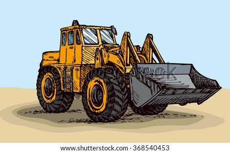 Scrape push load traction equipment - stock vector