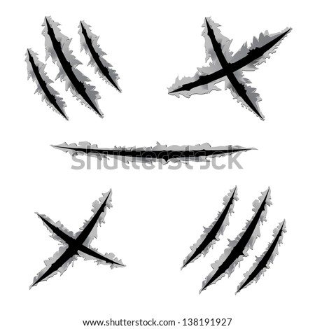 Scratch Claw Hole Vector Set - stock vector