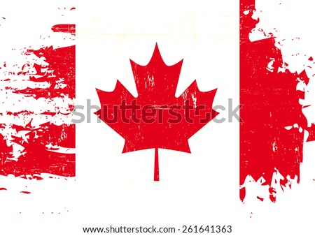 Scratched Canadian Flag. A flag of Canada with a grunge texture - stock vector