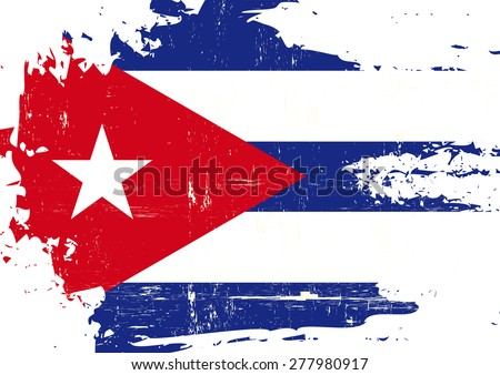 Scratched Cuban Flag. A cuban flag with a grunge texture - stock vector
