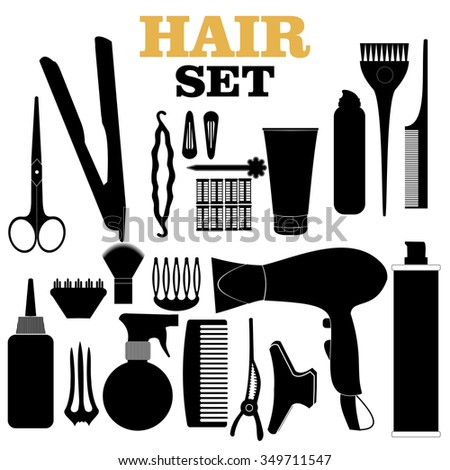 Scratched hair styling related silhouettes set. - stock vector