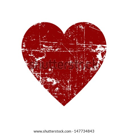 Scratched heart - stock vector
