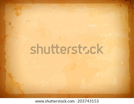 Scratched old frame on the aged paper - stock vector