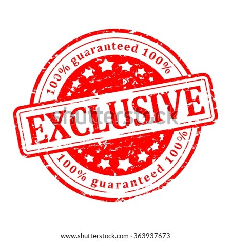 Scratched red round seal with the inscription - exclusive, guaranteed - vector - stock vector