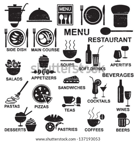 Scratched restaurant menu silhouettes - stock vector