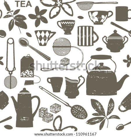 Scratched tea related seamless pattern - stock vector