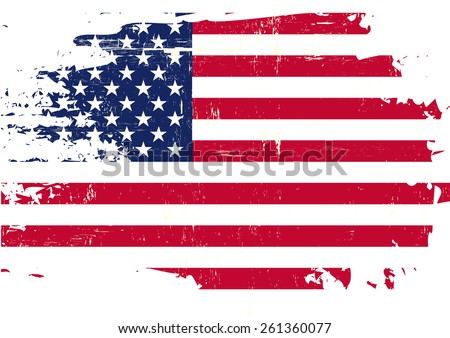 Scratched US Flag. An american flag with a grunge texture - stock vector