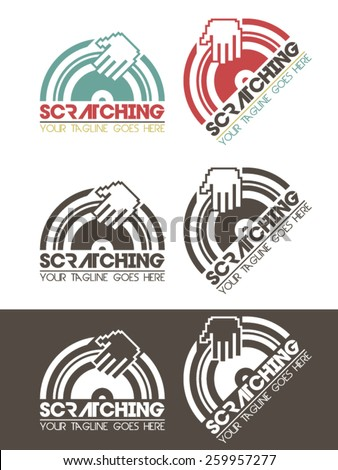 Scratching music logo, modern, simple and elegant logo template with a  hand scratching a vinyl record, usable for all kinds of music related businesses, dj, studios, mc, etc.  - stock vector
