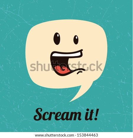 Screaming dialog bubble, say it out loud concept, vector background illustration - stock vector