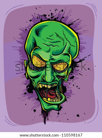 Screaming green zombie. Halloween poster - stock vector