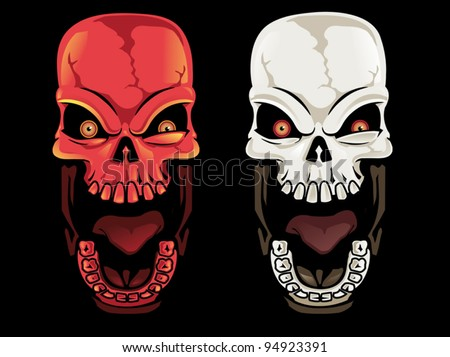 Screaming Skull Set - stock vector