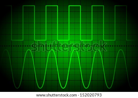 Screen digital oscilloscope - stock vector