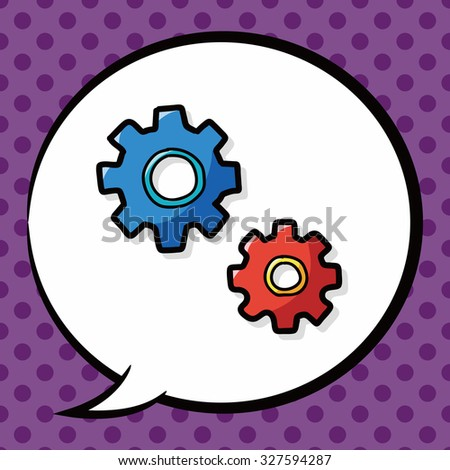 screw color doodle, speech bubble - stock vector