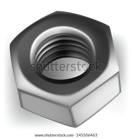 screw isolated metal nut steel white part illustration thread construction bolt iron hardware - stock vector