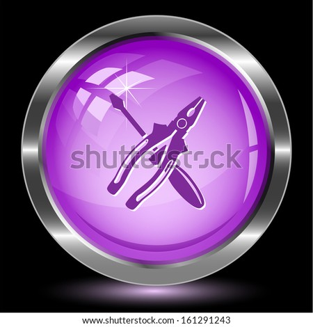Screwdriver and combination pliers. Internet button. Vector illustration. - stock vector
