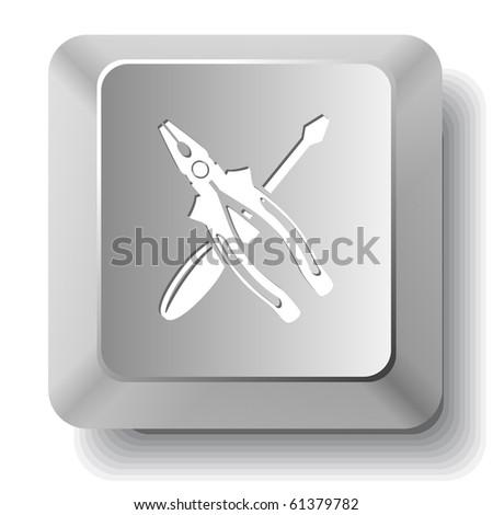 Screwdriver and combination pliers. Vector computer key. - stock vector