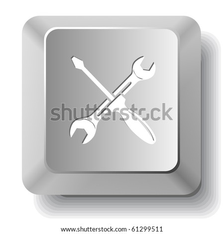 Screwdriver and spanner. Vector computer key. - stock vector