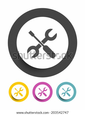 Screwdriver and wrench sign icon - stock vector