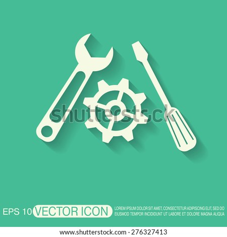 screwdriver, cogwheel and wrench icon setting and repair - stock vector