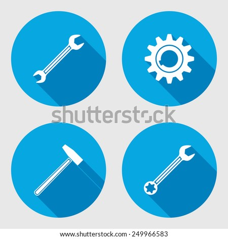 Screwdriver, hammer, wrench key icon, bolt nut, glue, oil-can. Repair fix tool symbol. Round circle flat icon with long shadow. Vector - stock vector