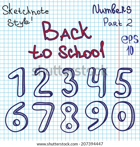 Scribble alphabet. Numbers. Hand drawing vector letters. Graph paper. Back to school theme. Part 2 - stock vector