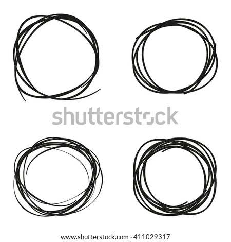 Scribble circles set black colored  flat style - stock vector