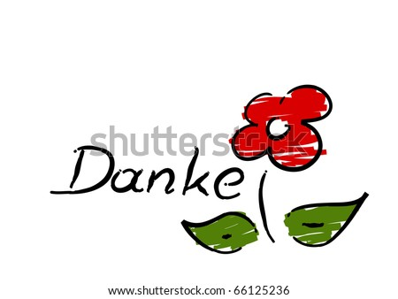 "Scribble of red flower with german ""Danke"" (Thank you) - vector. - stock vector"