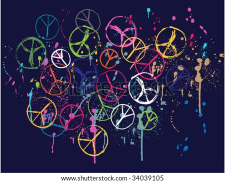 scribble peace graphic - stock vector