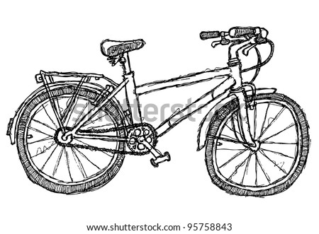 scribble series - bicycle - stock vector