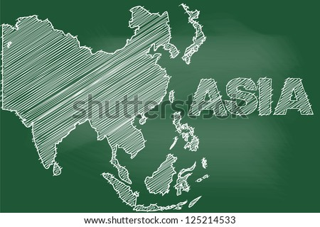 scribble sketch of asia map on blackboard - stock vector