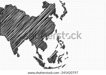 scribble sketch of Asia map on grid,Vector illustration. - stock vector