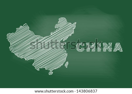 scribble sketch of China map on blackboard - stock vector