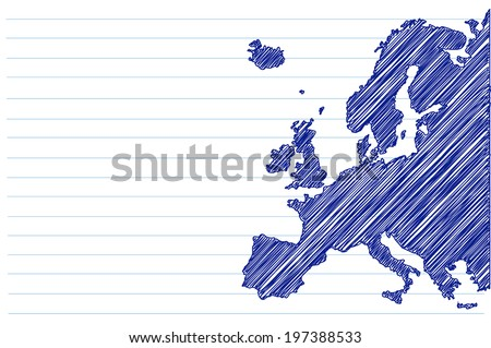 scribble sketch of Europe map on a notepad sheet - stock vector
