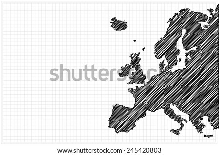 scribble sketch of Europe map on grid,Vector illustration. - stock vector
