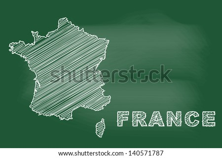scribble sketch of France map on blackboard - stock vector
