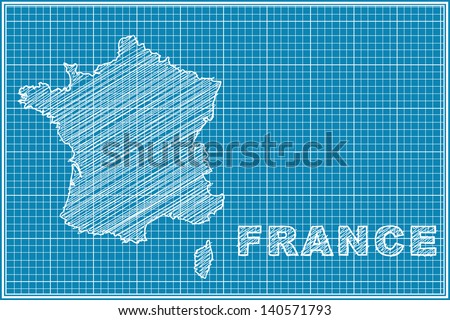 scribble sketch of France map on blueprint - stock vector