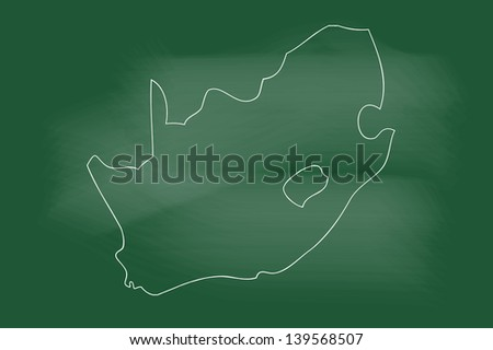 scribble sketch of south africa map on blackboard - stock vector