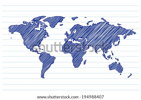 scribble sketch of world map on a notepad sheet - stock vector