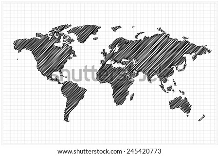 scribble sketch of World map on grid,Vector illustration. - stock vector