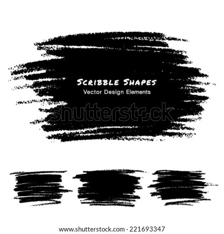 Scribble Stains Hand drawn in Pencil, vector logo design elements  - stock vector