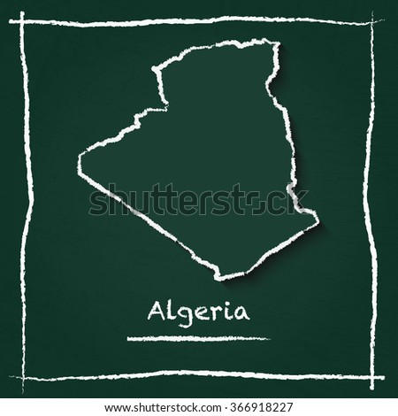 Scribble vector map of Algeria hand drawn with chalk on a green blackboard. Chalkboard map drawing in childish style. White chalk texture on green background. - stock vector