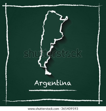 Scribble vector map of Argentina hand drawn with chalk on a green blackboard. Chalkboard map drawing in childish style. White chalk texture on green background. - stock vector