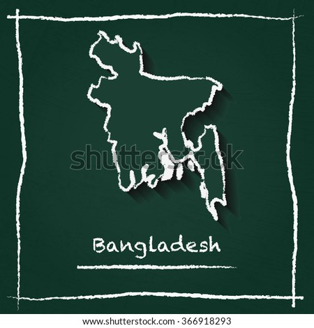 Scribble vector map of Bangladesh hand drawn with chalk on a green blackboard. Chalkboard map drawing in childish style. White chalk texture on green background. - stock vector