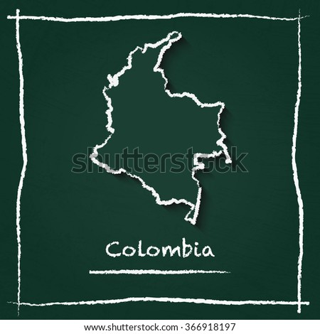 Scribble vector map of Colombia hand drawn with chalk on a green blackboard. Chalkboard map drawing in childish style. White chalk texture on green background. - stock vector