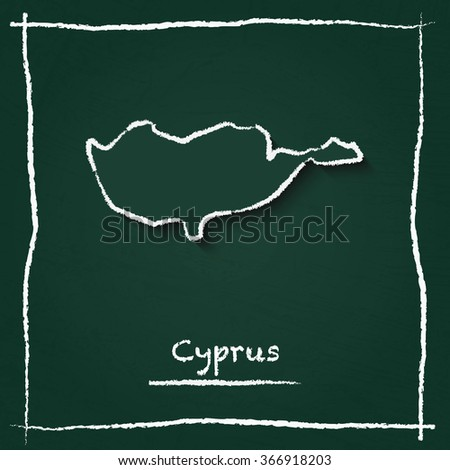 Scribble vector map of Cyprus hand drawn with chalk on a green blackboard. Chalkboard map drawing in childish style. White chalk texture on green background. - stock vector