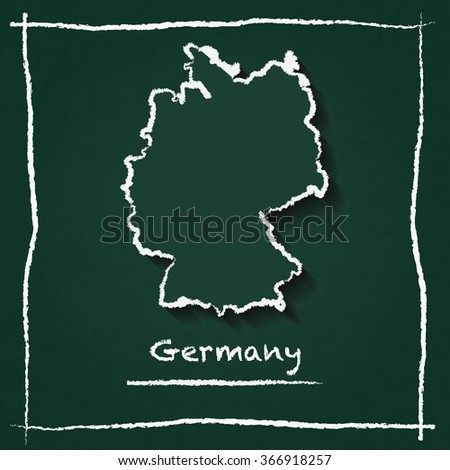 Scribble vector map of Germany hand drawn with chalk on a green blackboard. Chalkboard map drawing in childish style. White chalk texture on green background. - stock vector